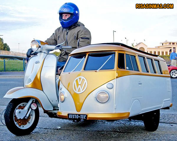 Moto con sidecar-furgoneta
