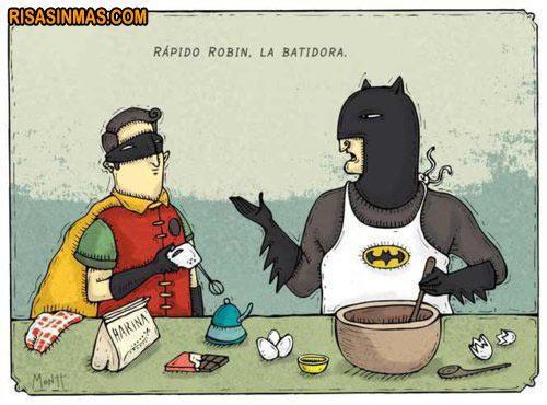 Batman y Robin en la cocina