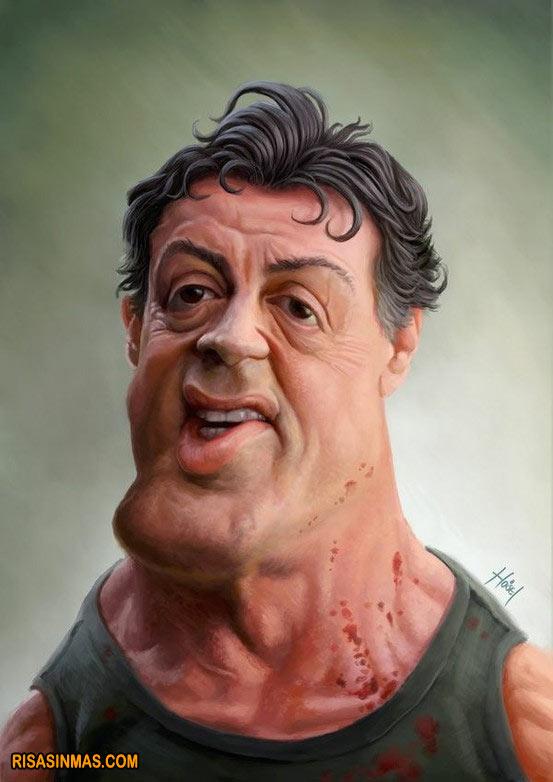 Caricatura de Sylvester Stallone