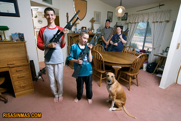 Entrañable fotografía de familia norteamericana