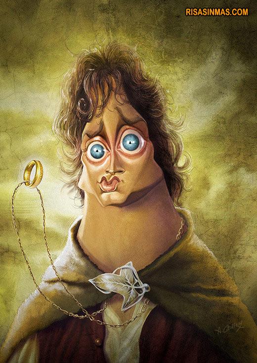 Caricatura de Frodo de El señor de los anillos