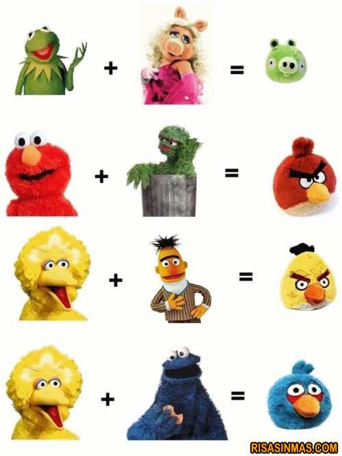 Personajes de Barrio Sésamo convertidos en Angry Birds