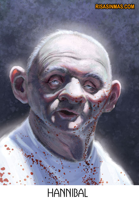 Caricatura de Anthony Hopkins como Hannibal Lecter