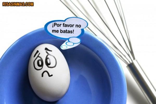 Un huevo asustado