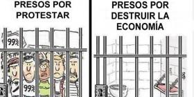 Manifestantes y banqueros