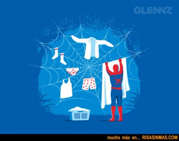 Spiderman usando sus poderes