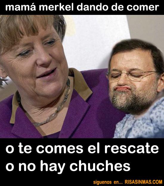 Mamá Merkel dando de comer