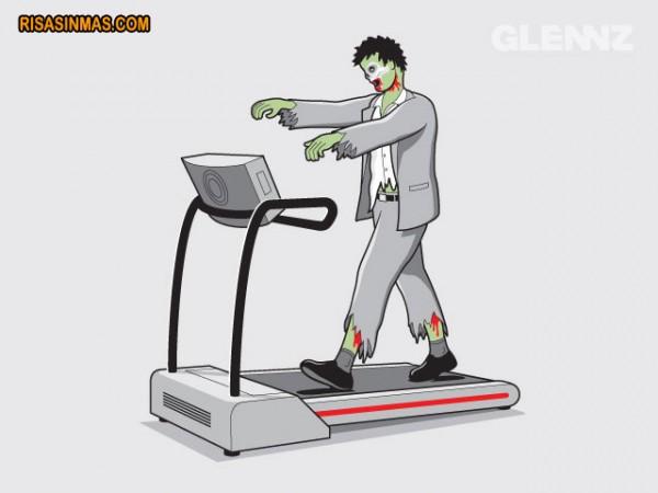 Zombie haciendo deporte