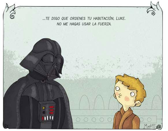 Discusión entre Darth Vader y su hijo Luke