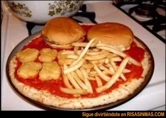 ¡Una pizza y una Coca-cola Light!