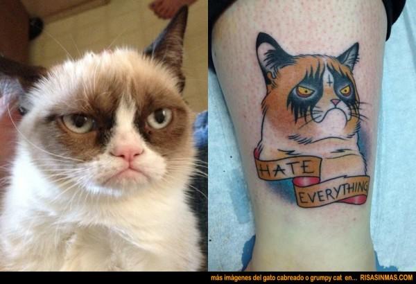 Tatuaje del gato cabreado o grumpy cat