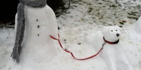 Muñecos de nieve originales: muñeco y perro