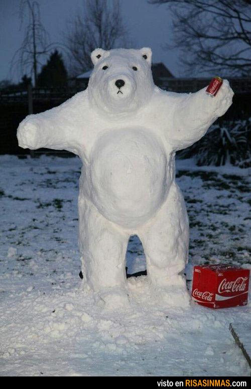 Muñecos de nieve originales: oso de Coca Cola