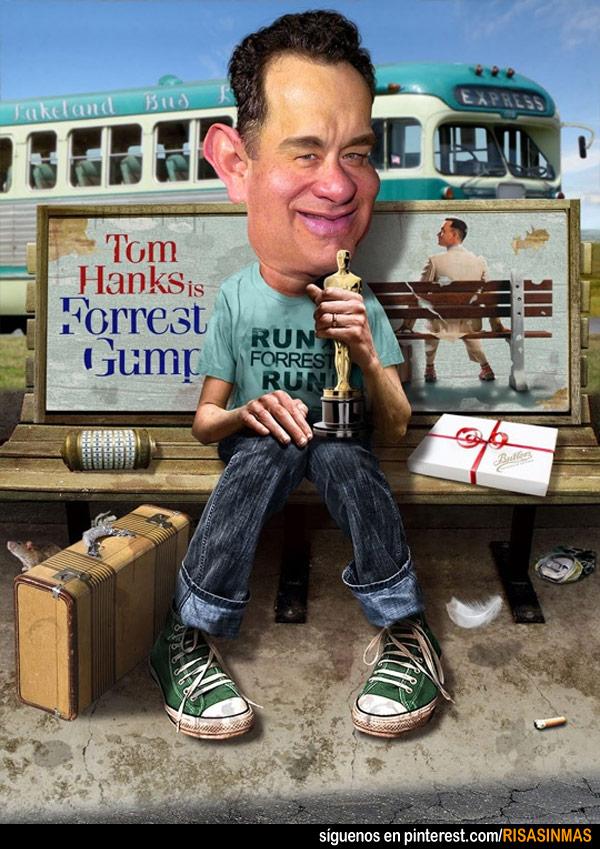 Caricatura de Tom Hanks en Forrest Gump