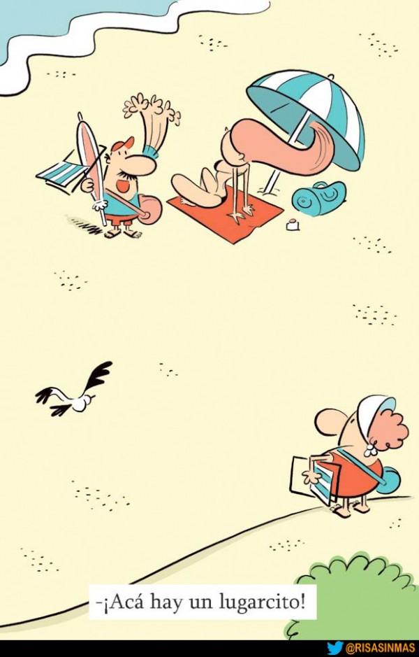 Buscando un lugar en la playa
