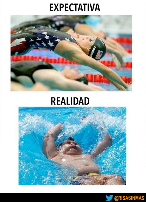 Expectativa vs Realidad: salto a la piscina