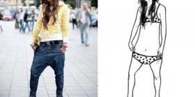 Anatomía femenina de los pantalones caídos