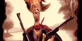 Caricatura de Clint Eastwood en El Bueno, El Feo y El Malo