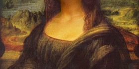 Caricatura de La Mona Lisa si fuera Mr. Bean