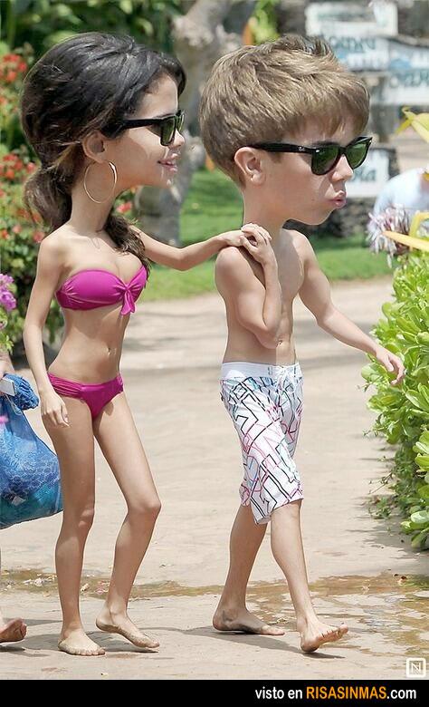 Caricatura de Selena y Justin