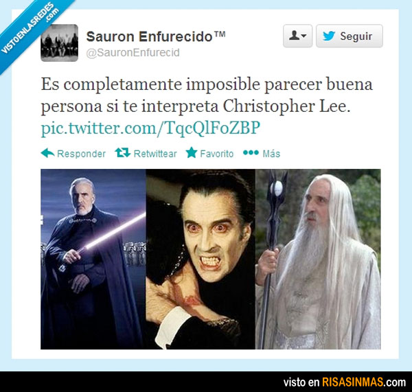 La cara de Christopher Lee