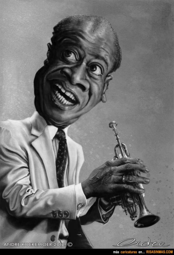 Caricatura de Louis Armstrong