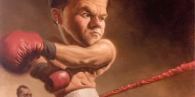 Caricatura de Mark Wahlberg en The Fighter
