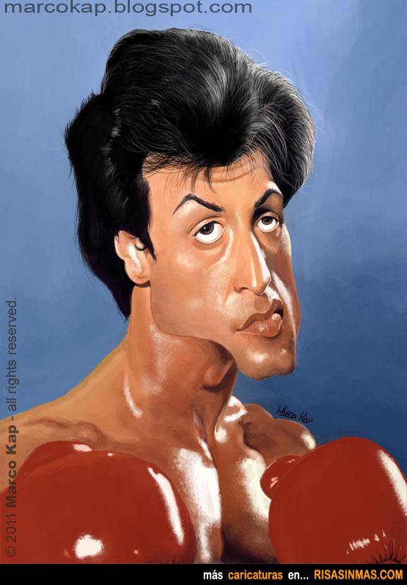 Caricatura de Sylvester Stallone en Rocky