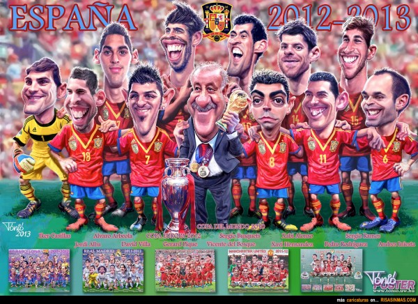 Caricatura de la Selección Española 2012-2013