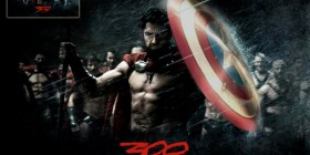 Rey Leónidas como el Capitán América