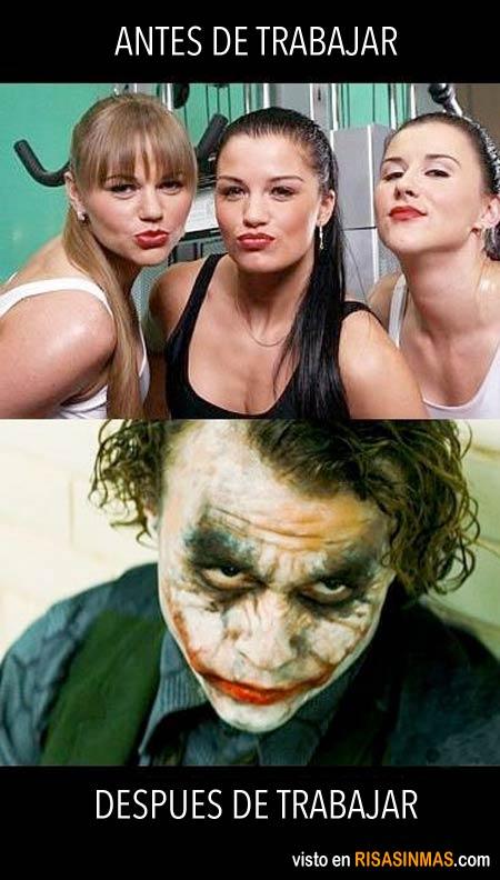 Maquillaje antes y después de trabajar