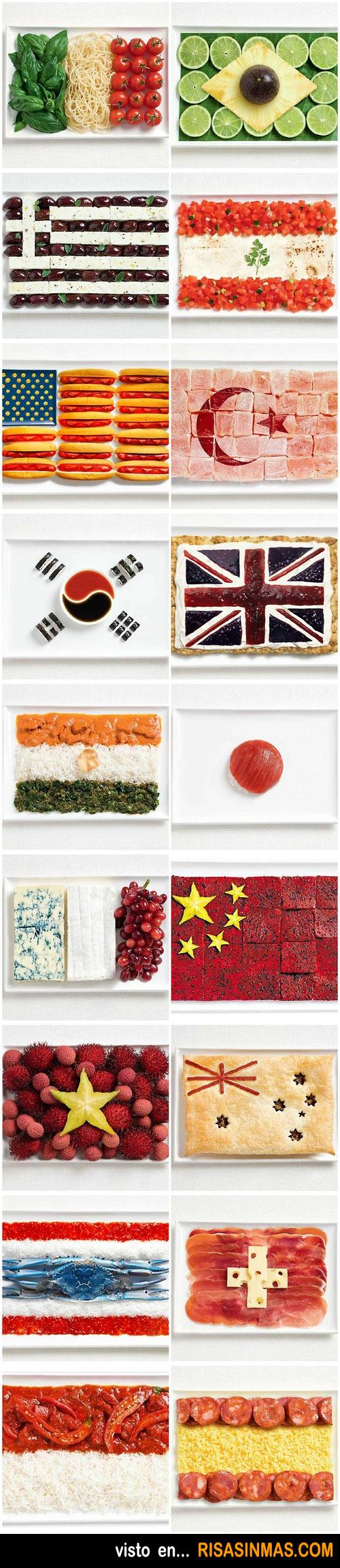 Banderas hechas con comida