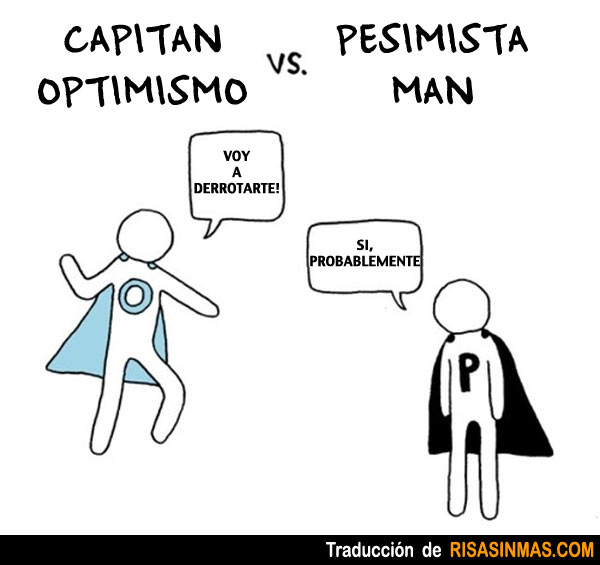 Capitán Optimismo vs Pesimista Man