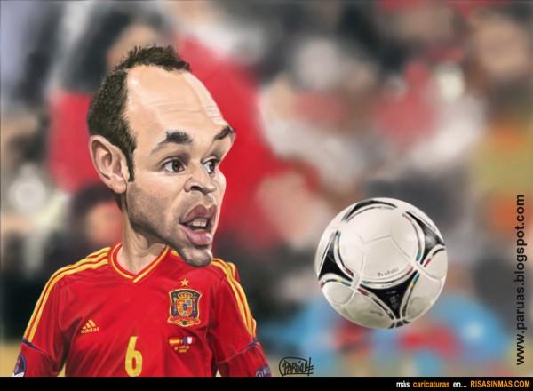 Caricatura de Andrés Iniesta