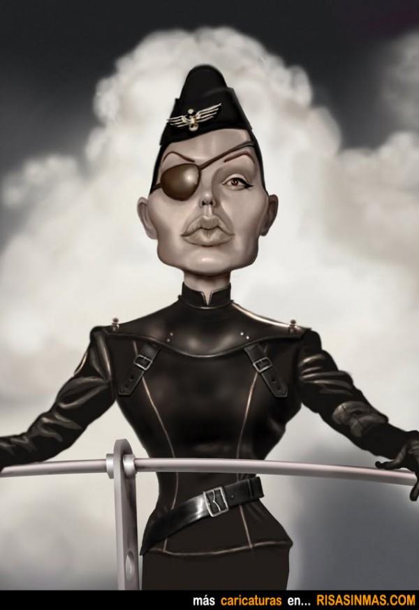 Caricatura de Angelina Jolie en SKY CAPTAIN