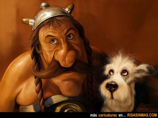 Caricatura de Gérard Depardieu como Obelix