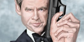 Caricatura de Pierce Brosnan (James Bond)