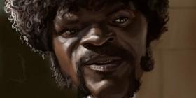 Caricatura de Samuel L. Jackson en Pulp Fiction