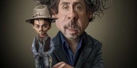 Caricatura de Tim Burton y Johnny Depp
