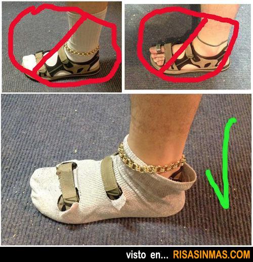 Nueva moda para llevar las sandalias