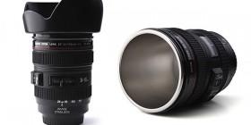 Tazas de café originales: lente de cámara