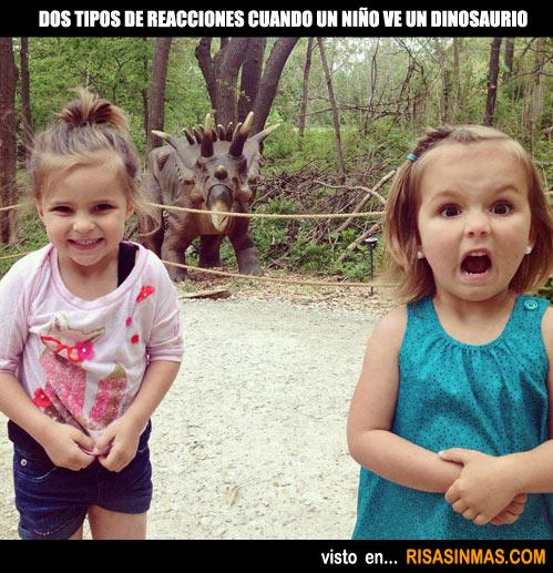 Reacciones de los niños cuando ven un dinosaurio