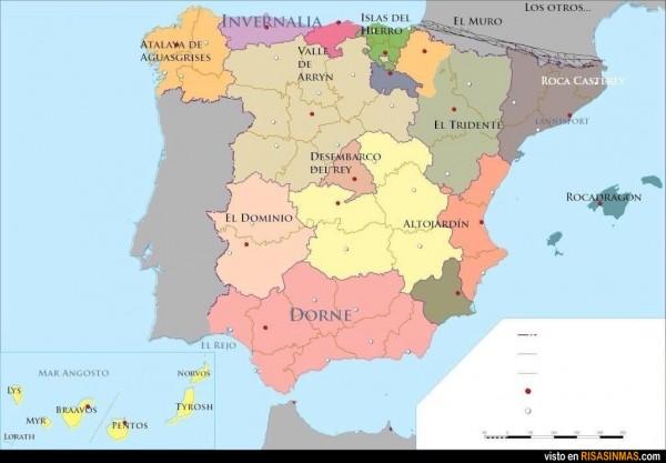 España según Juego de tronos