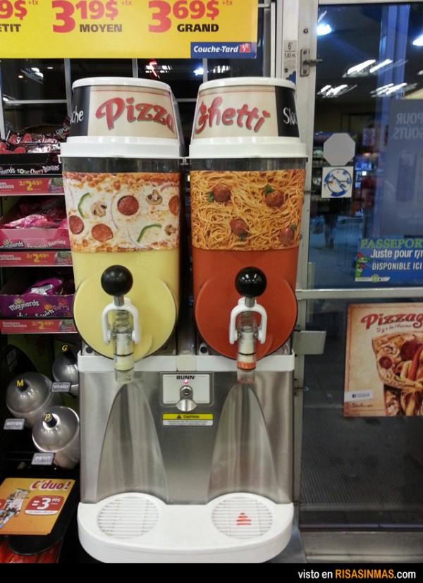 Granizado de pizza y espagueti