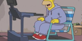 Homer haciendo deporte