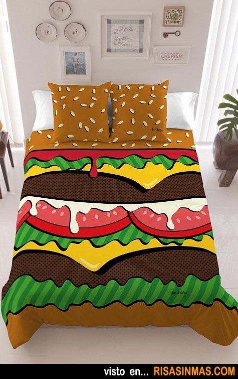 La cama de un amante de las hamburguesas