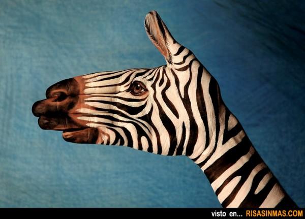 Manos pintadas: Cebra