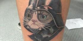 Tatuaje del gato cabreado