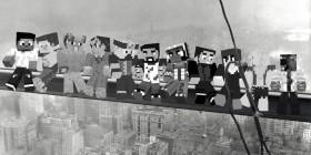 Almuerzo en lo alto de un rascacielos versión Minecraft