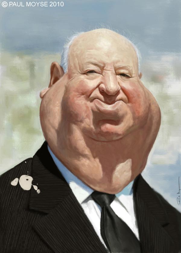 Caricatura de Alfred Hitchcock